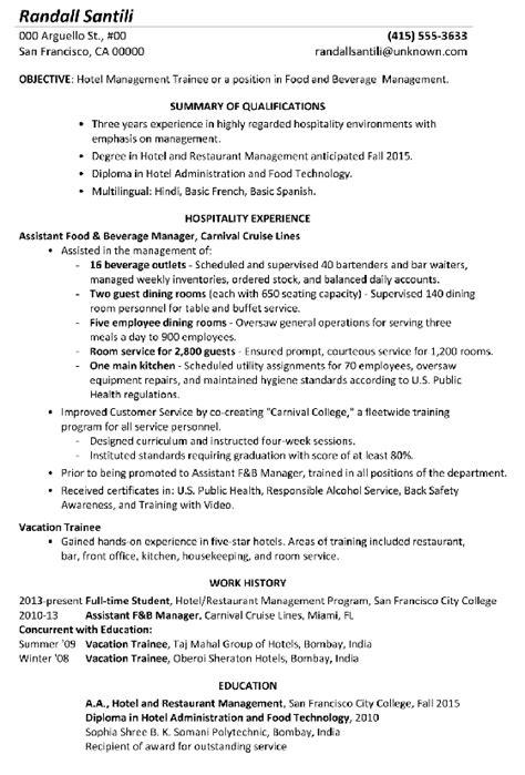 Resume Sample Hotel Management Trainee