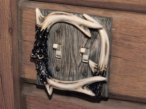 deer antler double light switch plate  buffalo trader