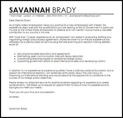 ambassador cover letter sample cover letter templates