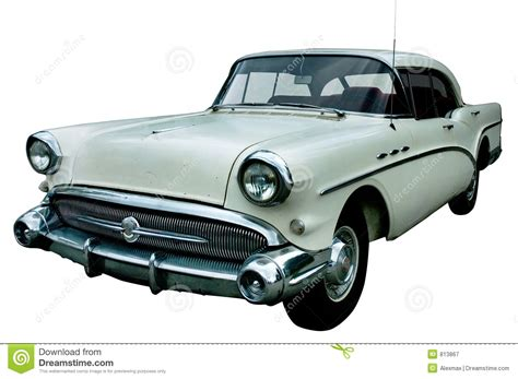 Classic White Retro Car Isolated Royalty Free Stock