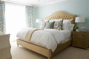 beige and blue bedroom with greek key nightstand With beige and blue bedroom ideas