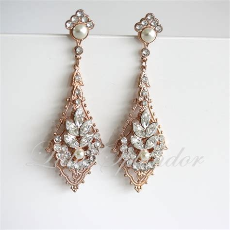 gold wedding earrings chandelier bridal earrings