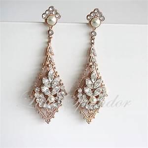 rose gold wedding earrings chandelier bridal earrings With gold wedding ring earrings