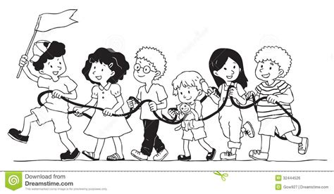 Group Of Kids Is Playing Rope Train Stock Vector