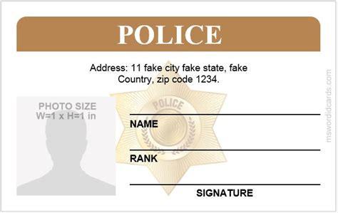 police id card templates  ms word microsoft word id