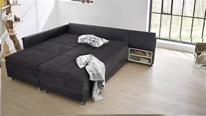 Sofa Mit Bett : wohnlandschaft rechts modena ecksofa sofa bett in schwarz mit nako ~ Frokenaadalensverden.com Haus und Dekorationen