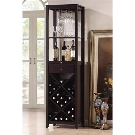 wine glass hutch baxton studio brown 20 bottle wine cabinet at lowes