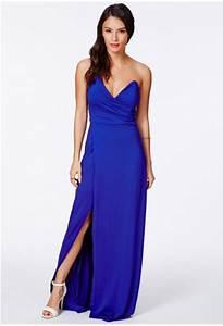 missguided robe longue bustier asymetrique koemi en bleu With robe bustier asymétrique