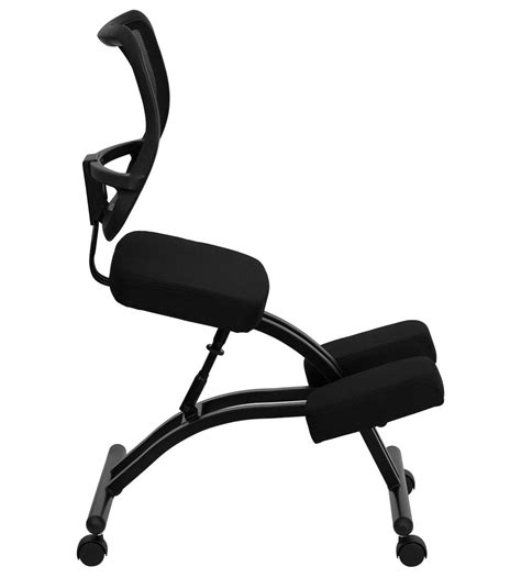 mobile ergonomic kneeling chair with bla inset decobizz