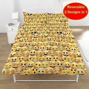 emoji double duvet quilt cover bedroom set boys girls