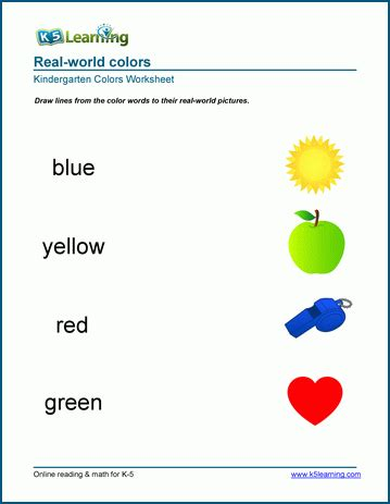 color of objects worksheets k5 learning 881 | colors 1