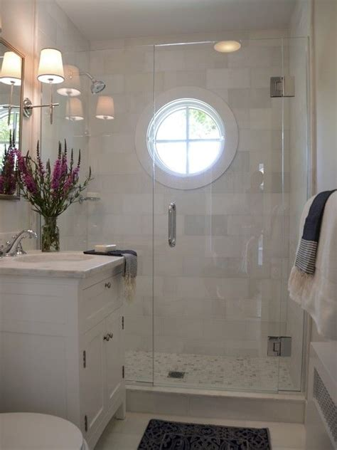 Ideas For Small Bathrooms Without Windows by Nautical Shower Window White Marble And Light Blue