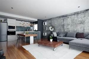 piece de vie moderne dans un petit appartement de ville With design interieur petit appartement