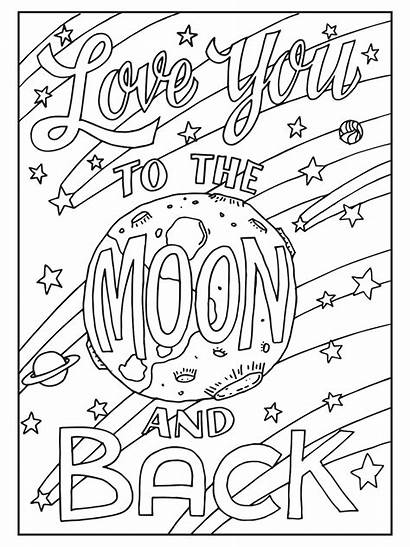 Coloring Pages Colouring Moon Quotes Adult Quote
