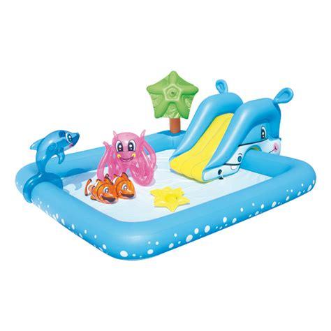 piscine aquarium toboggan dauphin logitoys king jouet piscines jeux de plage logitoys