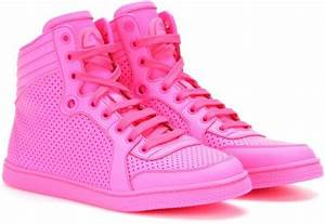Gucci Hightop Neon Leather Sneakers in Pink rosa fluo