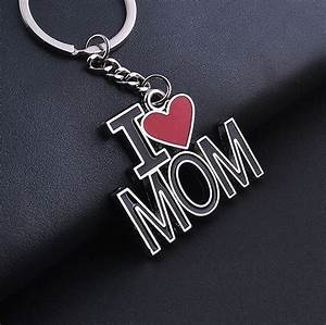 I LOVE MOM Keychain Keyring Red Heart Metal Key Chain Gift ...