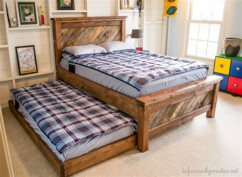 farmhouse pallet bed  rolling trundle infarrantly