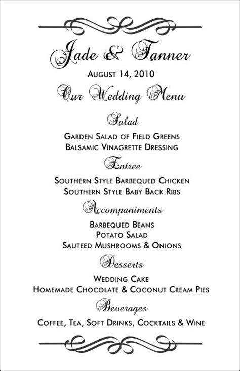 printable menu template wedding menu templates and easy menus for your big day