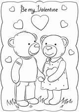 Valentine Coloring Valentines Card Cards Printable Template Happy Bears Templates Bear Crafts Drawing Duathlongijon sketch template