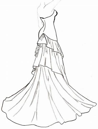 Outline Drawing Coloring Dresses Clipart Pages Barbie