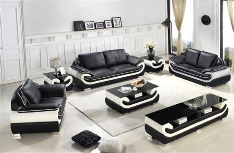 Black White Sofa Set by Divani Casa T777 Modern Black White Bonded Leather Sofa Set
