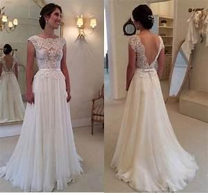 2015 chiffon ivory white wedding bridal gown dress custom With size 10 wedding dress