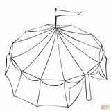 Coloring Tent Circus Printable Drawing Dot Games Paper sketch template