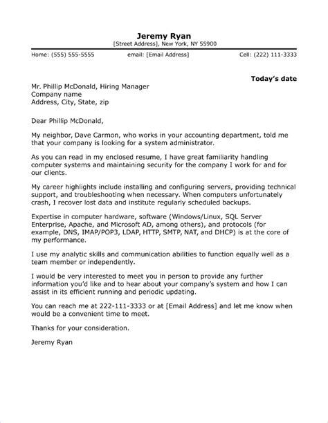 Cover Letter For An Administrator by System Administrator Cover Letter Sle