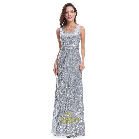 Silver Vneck Sleeveless Ruched Sequin Floor Length Formal