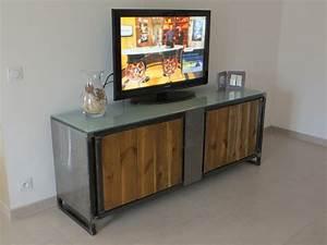 Meuble Tv Fer : meuble tv en fer bois et verre sfc ferr art ~ Teatrodelosmanantiales.com Idées de Décoration