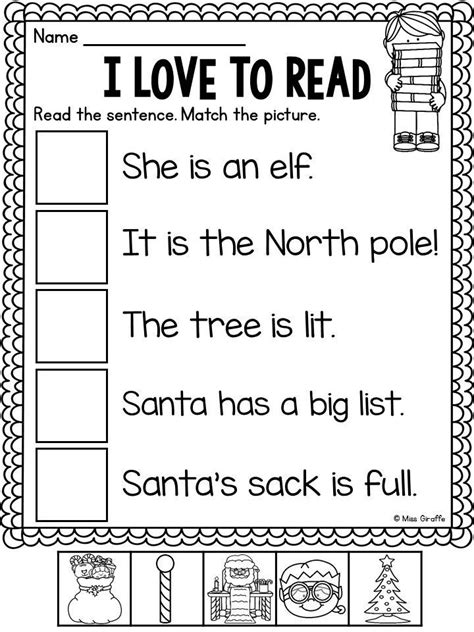 christmas  prep worksheets reading worksheets
