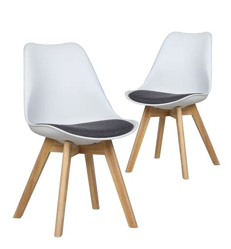 lot chaises chaises luma lot de 2 chaises design scandinave blanc