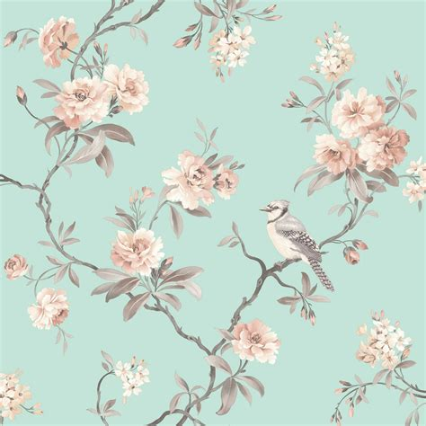 fine decor chic floral chinoiserie bird wallpaper  grey
