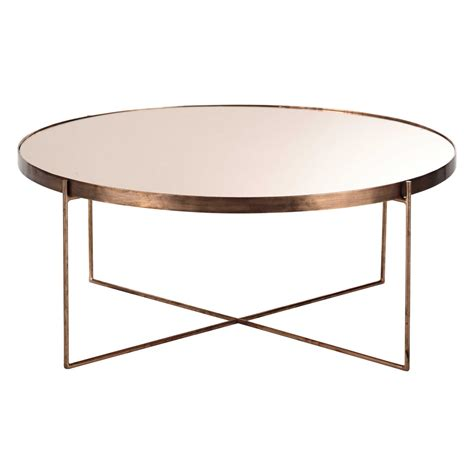 table basse bout de canap comète copper plated metal mirror coffee table d 83cm