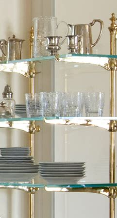 brass glass shelves  kitchen dishes glass kitchen