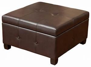 Codi Storage Ottoman Coffee Table, Brown Leather