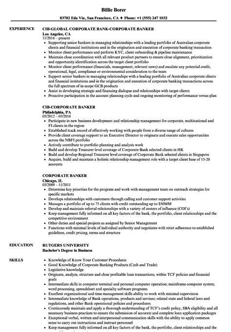 corporate banking resume template corporate banker resume sles velvet jobs