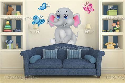 muurstickers babykamer olifant artpaintingyoueu