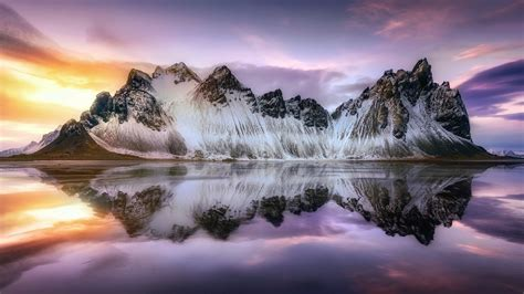 Wallpaper For by Vestrahorn Mountains Reflection Hd Wallpaper Wallpaper