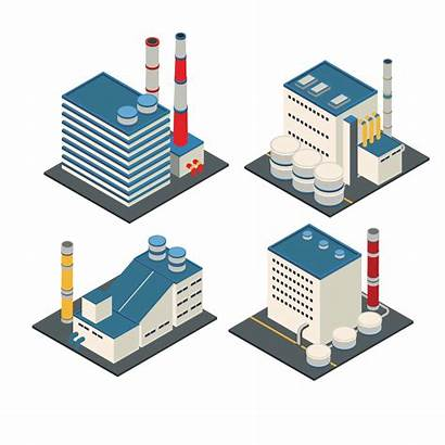 Factory Warehouse Isometric Vector Building Industrial Modern