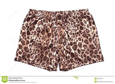 Leopard Printed Satin Boxer Shorts Stock Photo