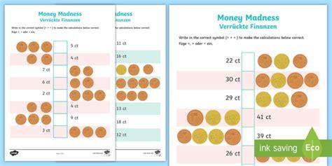 euro money madness worksheet worksheets english german eu coins europe