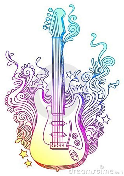 hand drawn guitar stock photo image