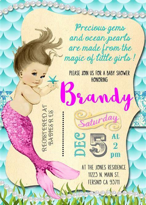 mermaid baby shower invitation invite mermaid baby