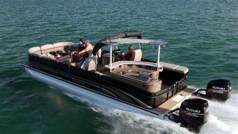 Bennington Pontoon Boat In Rough Water by Premier 290 Grand Entertainer A Wide Beam Pontoon Boat