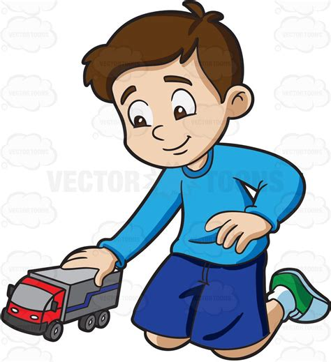 playing cartoon a young boy playing with his toy truck cartoon clipart