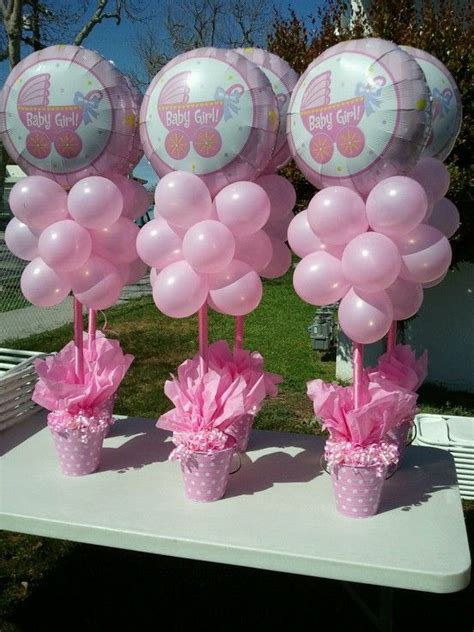 baby shower centerpieces with balloons it s a girl baby shower balloon centrepieces balloon balloonart table centrepiece party
