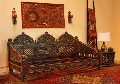 indian carved jhula sofa daybed indoor  outdoor