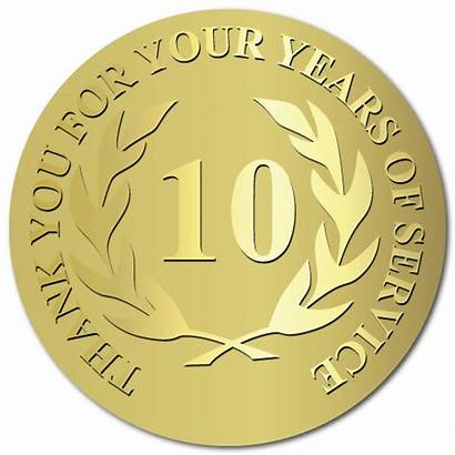 Stickers Award Circle Embossed Gold Service Labels